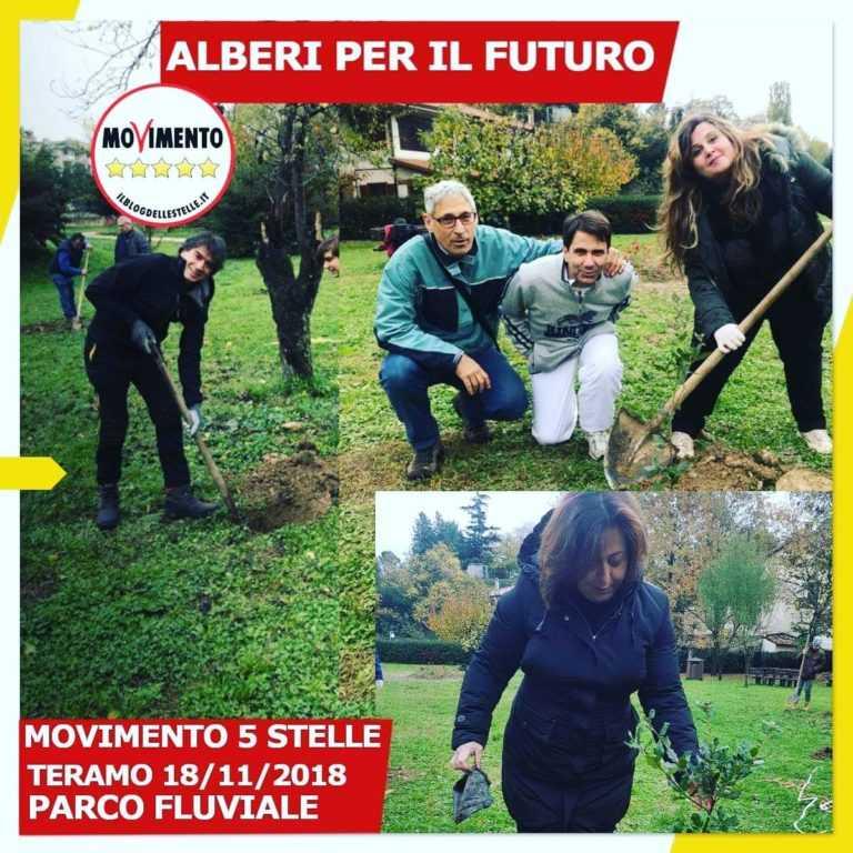 FOTO   I 5 STELLE PIANTANO 20 ALBERI DI LECCIO AL PARCO FLUVIALE DI TERAMO