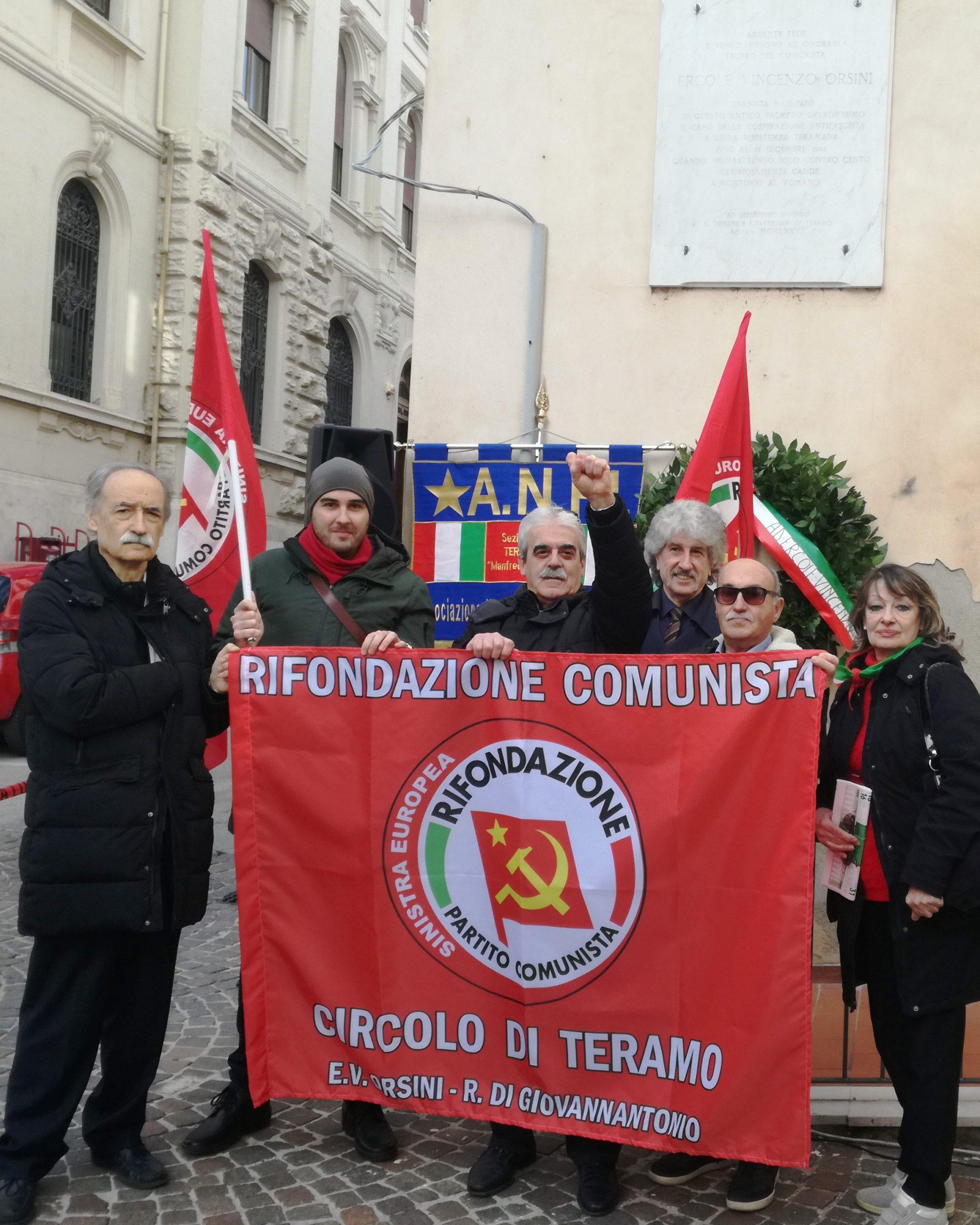 Teramo, Rifondazione Comunista ha celebrato commemorazione Partigiano Ercole Vincenzo Orsini