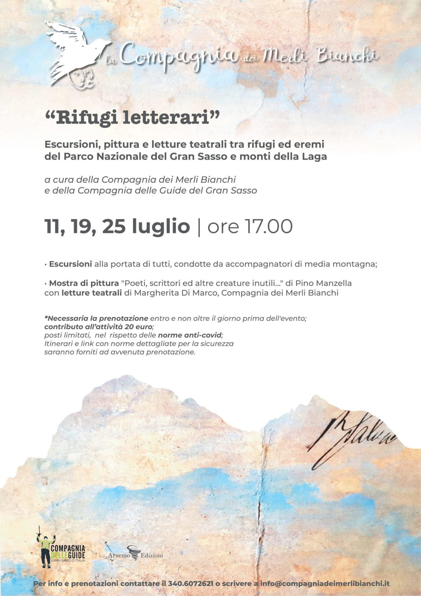 """I """"Rifugi letterari"""" della compagnia dei Merli Bianchi, arte e natura nella montagna teramana. Il programma"""