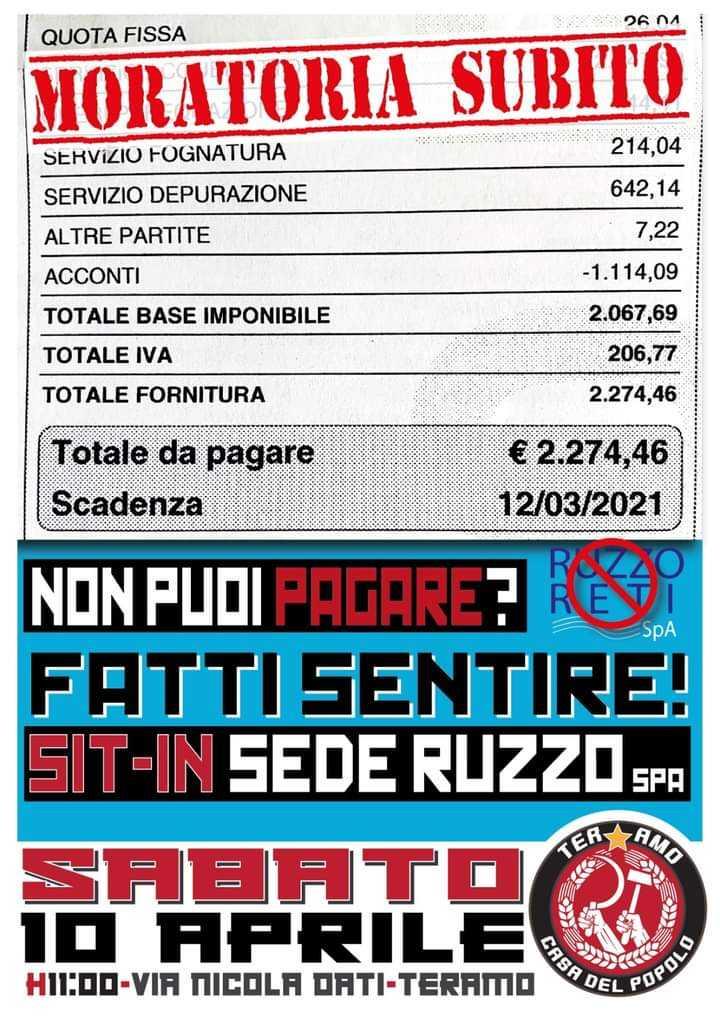 Teramo, Casa del Popolo chiede moratoria su bollette Ruzzo: sabato sit in in via Nicola Dati