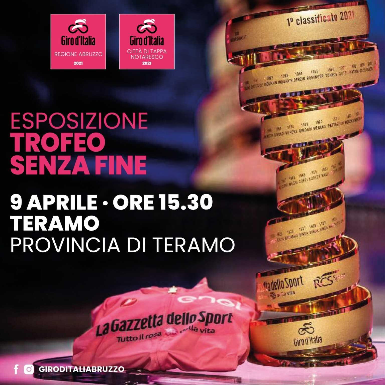 """Tappa del Giro d'Italia il 14 maggio da San Giacomo a Notaresco. Domani il """"Trofeo senza fine"""" a Teramo"""