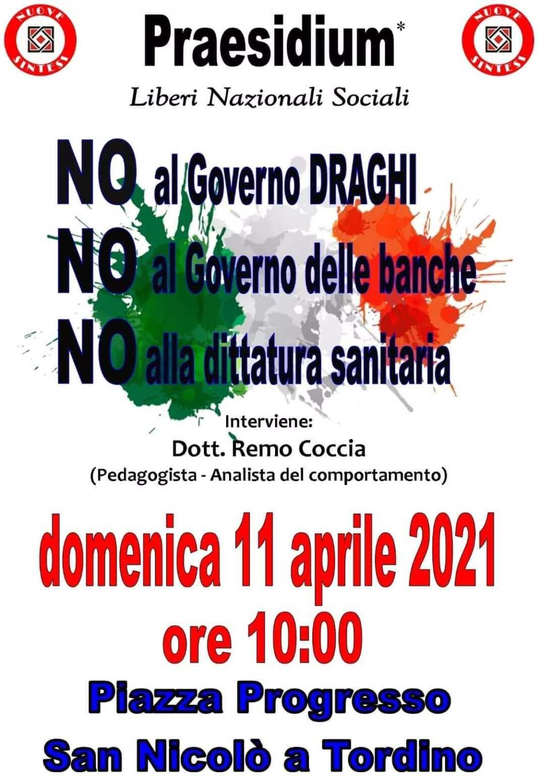 Teramo, presidio di Nuove Sintesi a San Nicolò contro il Governo Draghi