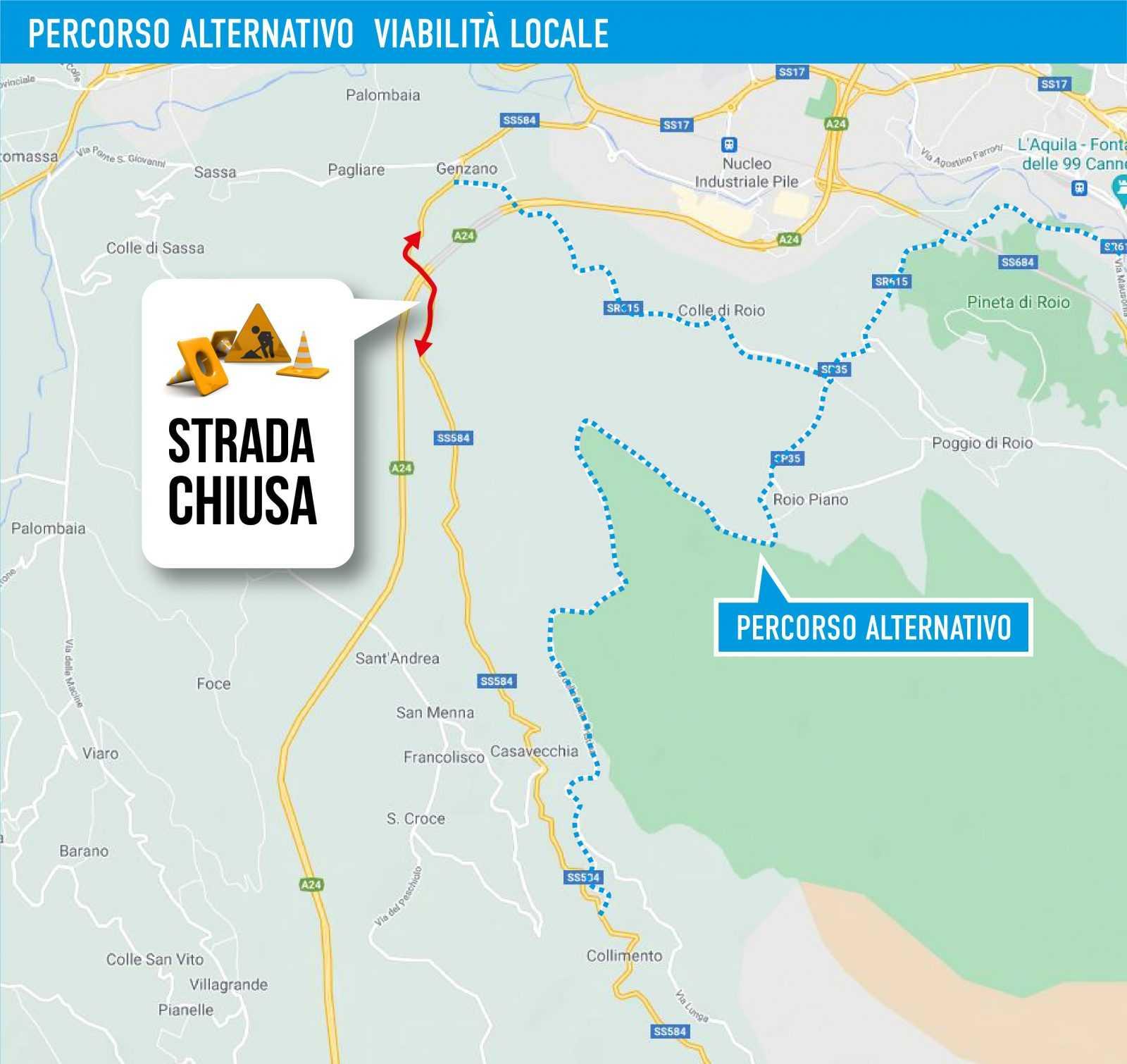 A24: chiusure L'Aquila Ovest – Tornimparte e SS 584