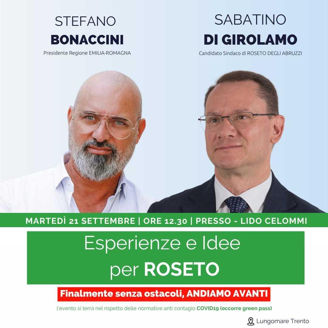 Il presidente dell'Emilia Romagna Bonaccini domani a Roseto: incontro con il candidato sindaco Sabatino Di Girolamo