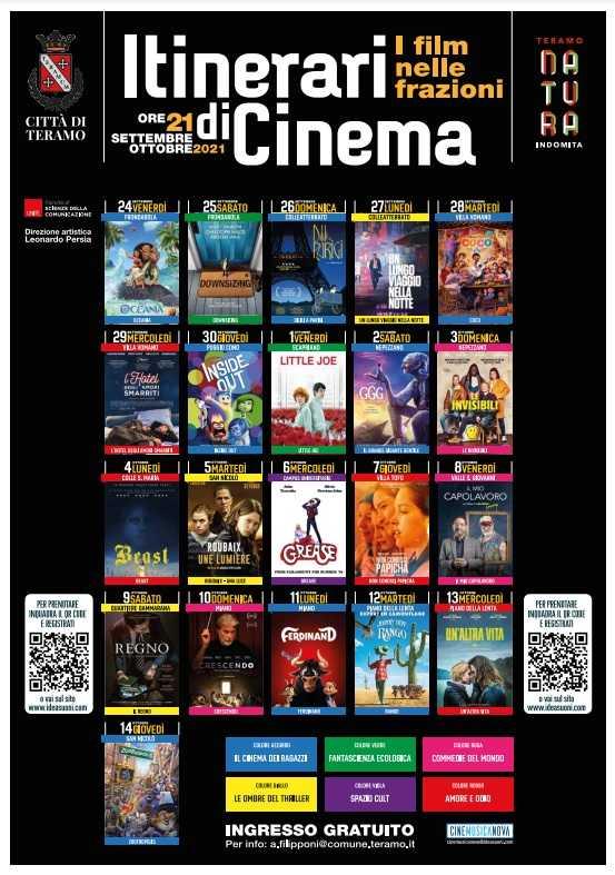 """Film nelle frazioni di Teramo con """"Itinerari di Cinema"""" a cura di Persia e Cinemusica Nova"""