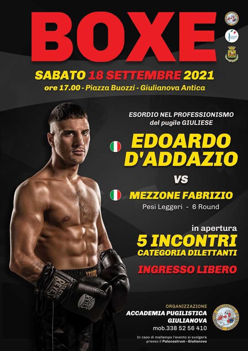 Pugilato, sabato riunione a Giulianova con 5 incontri in Piazza Buozzi: esordirà D'Addazio