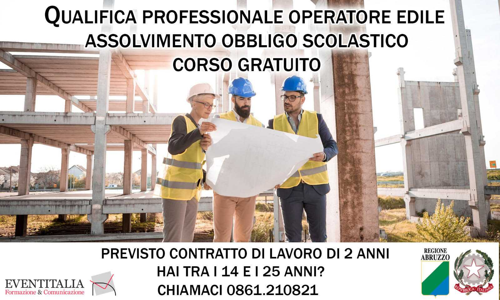 """Eventitalia, percorsi triennali per la qualifica di """"operatore edile"""""""