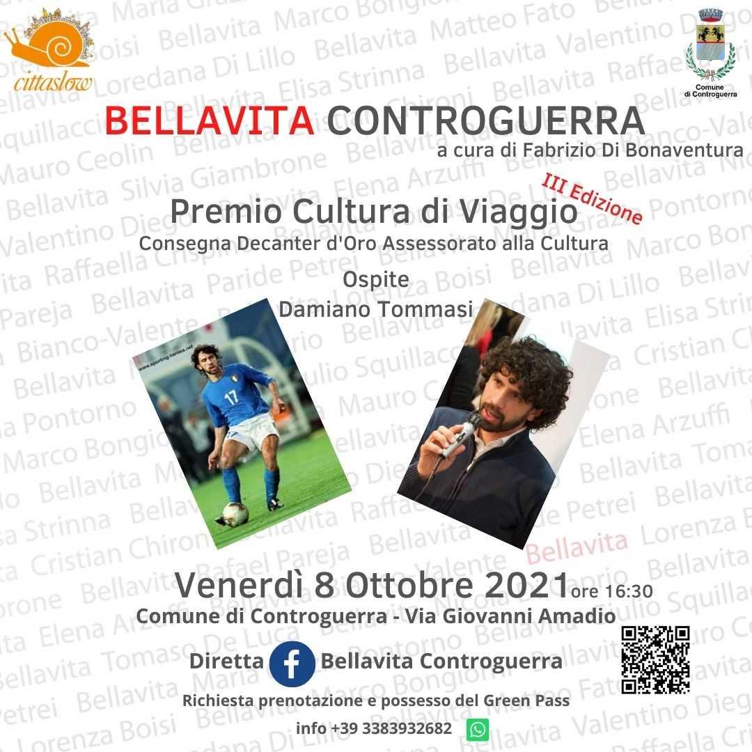 """Premio Cultura di Viaggio – BellaVita Controguerra, il """" Decanter d'oro"""" a Damiano Tommasi"""