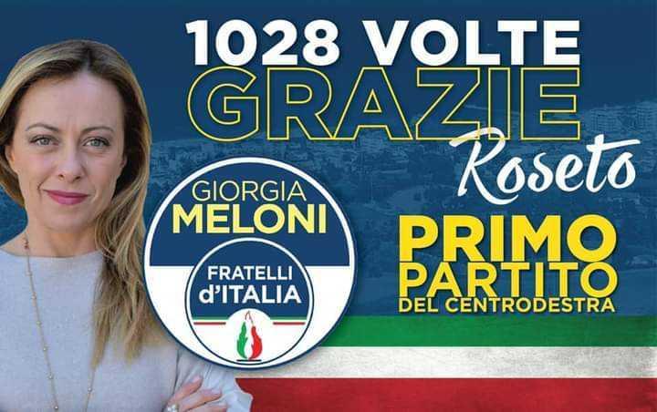 Roseto, Fratelli d'Italia primo partito della coalizione di centro-destra che sostiene William Di Marco