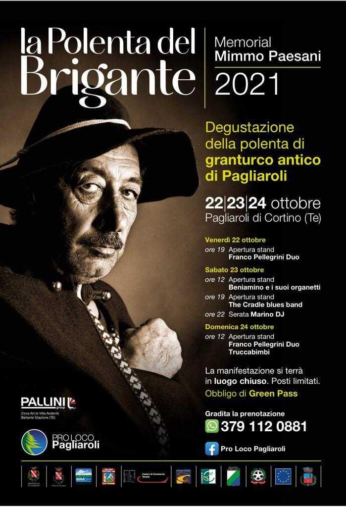 """A Pagliaroli di Cortino arriva """"La polenta del brigante"""" – Memorial """"Mimmo Paesani"""": dal 22  al 24 ottobre"""